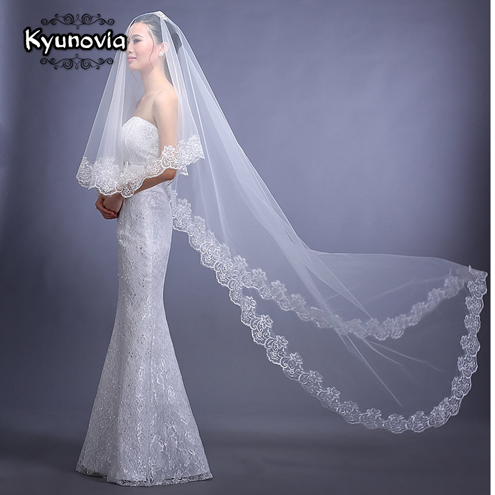 Kyunovia White Ivory Red  Veils Long 3 Meters One Layer Bridal Veils Cathedral Wedding Veil Lace Cotton Bride Wedding Veil D20