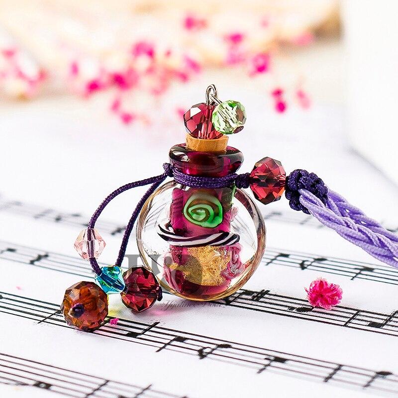 цена на H&D Crystal Glass Bottle Pendant Necklace Vial Perfume Essential Oil Diffuser Handmade Aroma Jewelry Necklace Pendant (Purple)