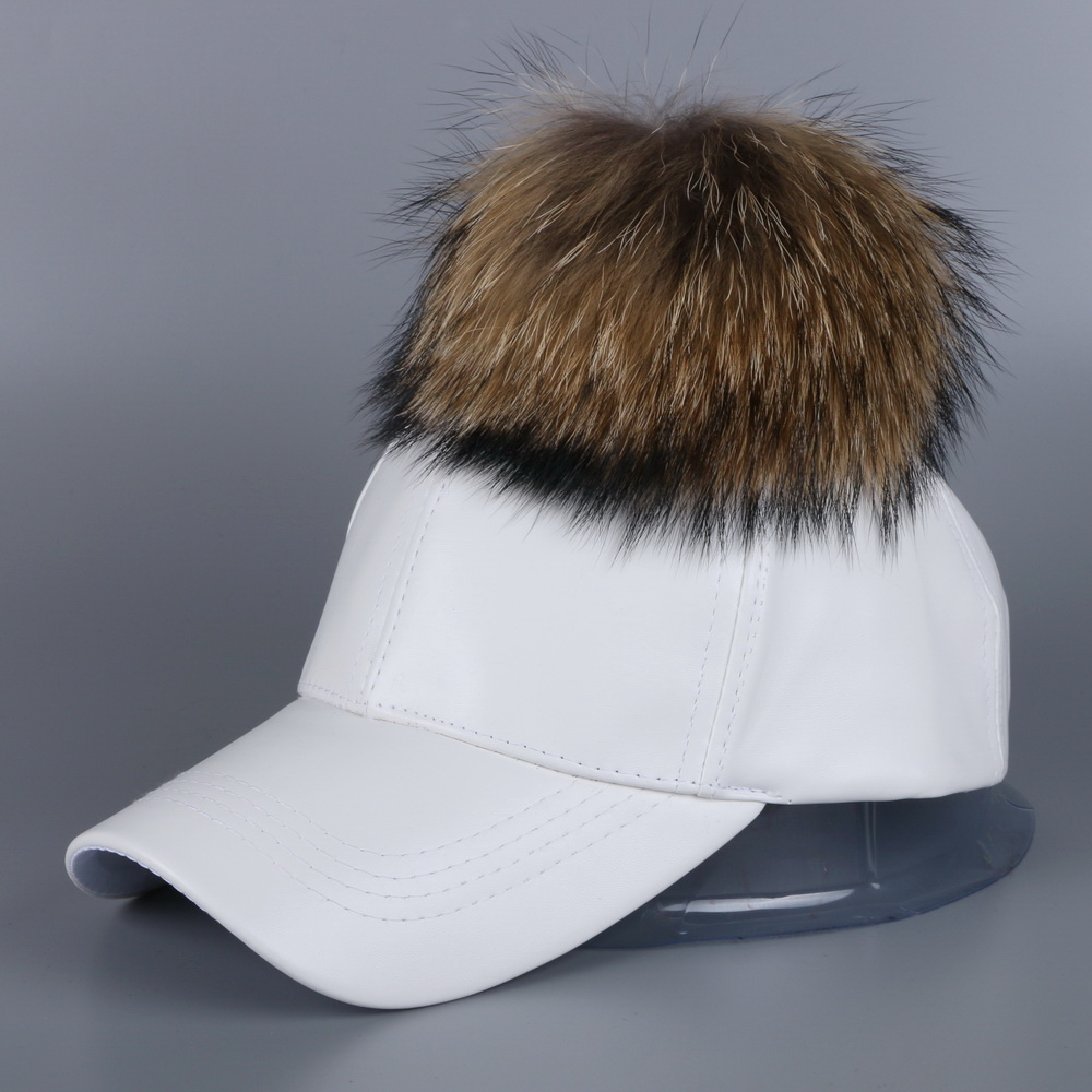mink and fox fur ball winter hat for women pu leather pompom luxury baseball cap for girl  brand warmer female snapback hats