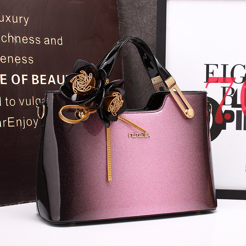 Women Leather Handbag High Quality Floral Evening Bag 2018 New Candy Black Red Purple Patent Leather
