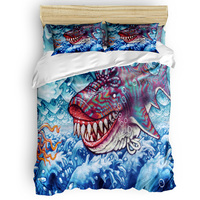 Cartoon Shark Bubble Blue Sea Cool Duvet Cover Flat Bed Sheets Pillowcase King Queen Full Twin Bedding Set Bedding Set 3/4pcs