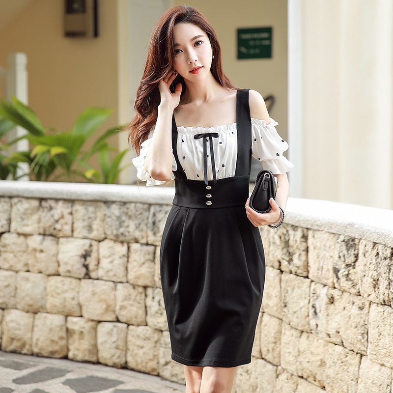 Dabuwawa Summer Women Bow Vintage Midi Dress New Puff Sleeve Fake Two Piece Set D18BDR240