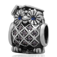 New DIY CZ Owl Charms Original 100 Authentic 925 Sterling Silver Beads Fit For European Bracelets