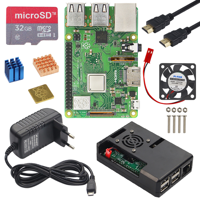Original Raspberry Pi 3 Model B Plus Starter kit with Power Adapter Case Heat Sink better
