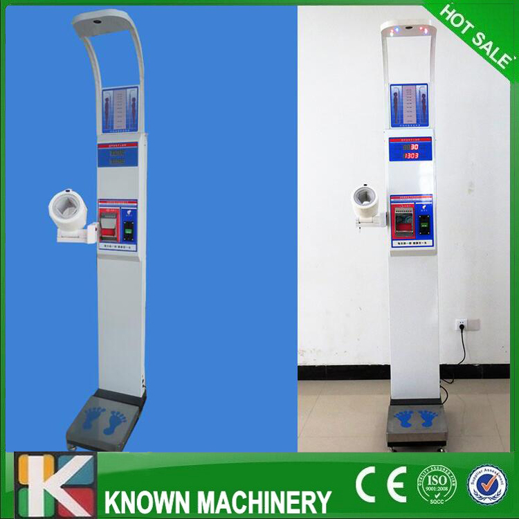 Vending ultrasonic height weight BMI blood pressure machine with coiner and printer KN-15B with broadcast free shipping by sea high quantity medicine detection type blood and marrow test slides