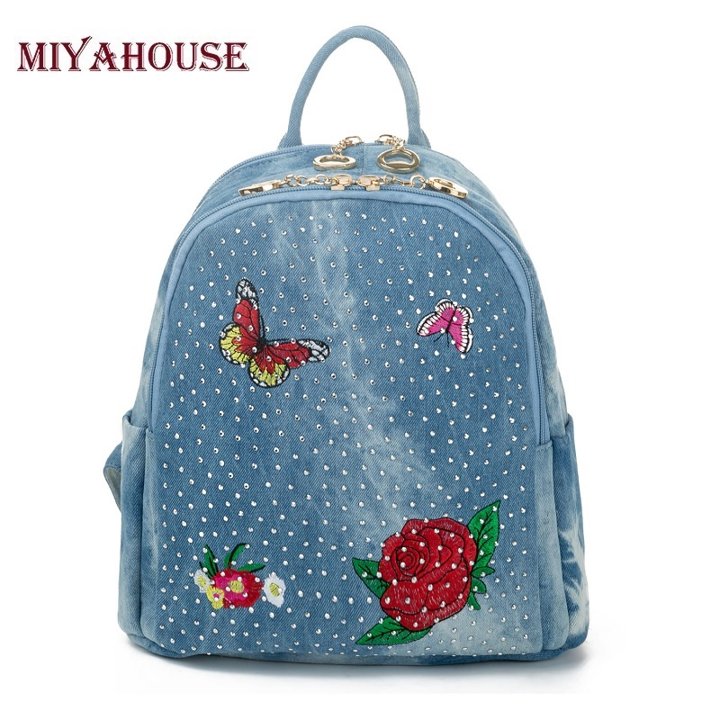 Miyahouse Luxury Butterfly And Floral Embroidery Design Denim Backpack For Female High Quality Jeans Design Travel Backpack Lady zipper fly birds embroidery design straight leg jeans