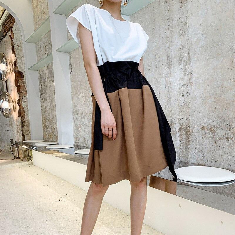 Style français Robe d'été femmes o-cou manches chauve-souris Robe mi-longue mode Patchwork ceintures a-ligne robes Robe Femme Vestidos