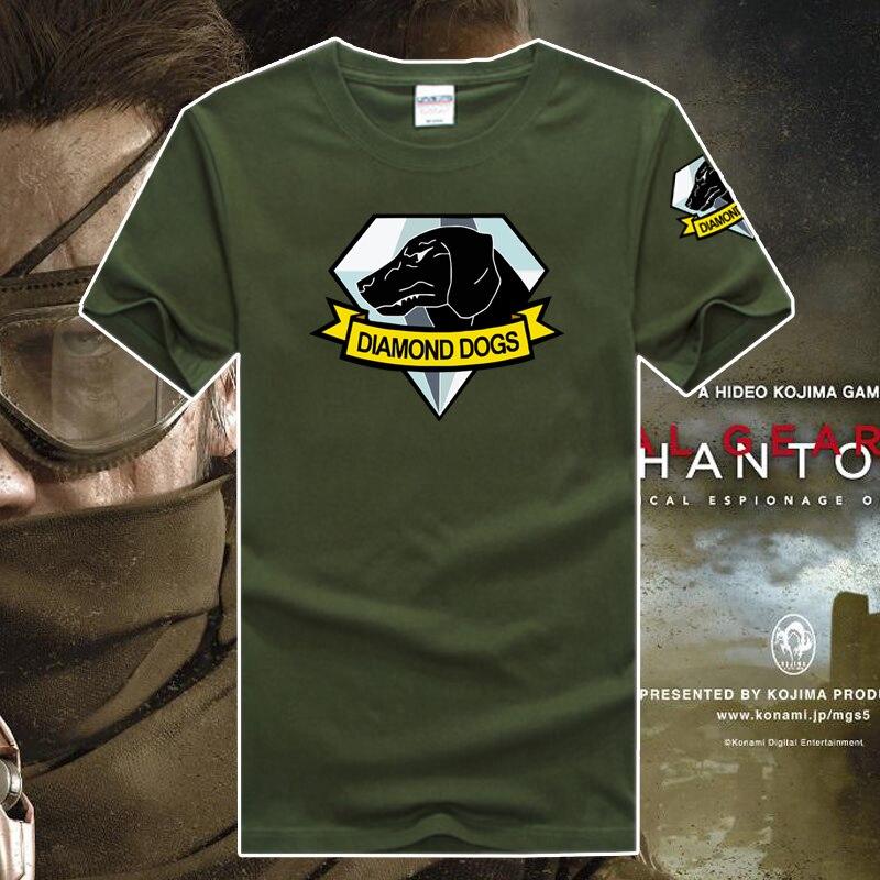 100% cotton game fans tee   shirt   Metal gear 5 emblem diamond dog high quality priting Hedio Kojima game fans   t     shirt   diamond dog