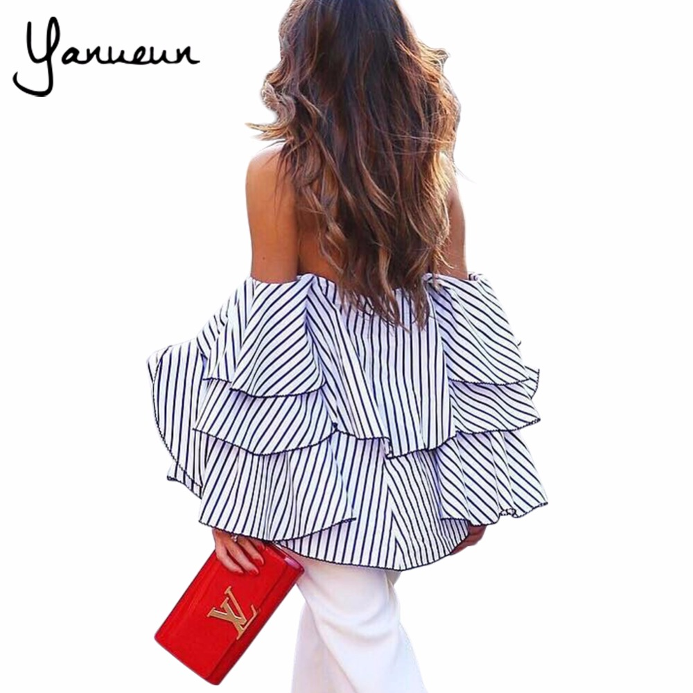 Yanueun 2018 Spring Summer Women High Street Sexy Slash Neck Off Shoulder Ruffles Shirts Female Striped Flare Sleeve Loose Tops