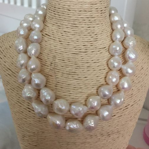 gorgeous 13-14mm freshwater baroque white pearl necklace 36inch 925silver