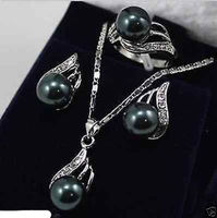 Wholesale Price 16new Beautiful Jewelry Green Jade Bow Pendant Necklace Earring Set