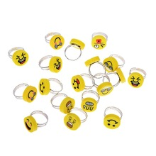 10pcs Yellow Funny Emoji Finger Ring Wholesale Lot Silver Color Assorted Cute Kid Child Ring Party Adjustable Jewelry