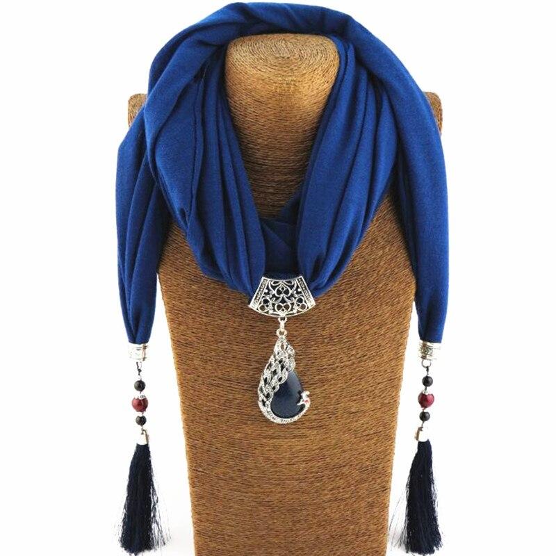 DIEZI Vintage Bijoux Frauen Schal Aussage Halskette Natur Stein Anhänger Halskette Fringe Quaste Schal Perlen Ethnische Schmuck