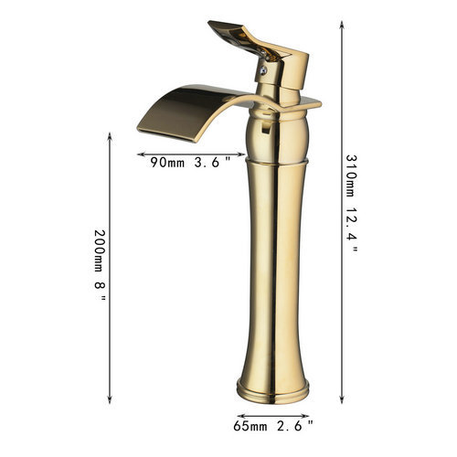 Luxury Waterafall Tall Spout Basin Torneira Golden Bathroom Bath Lavatory Deck Mounted 97135 Single Handle Sink Tap Mixer Faucet luxury wall mounted bathroom basin faucet single handle golden finish sink mixer