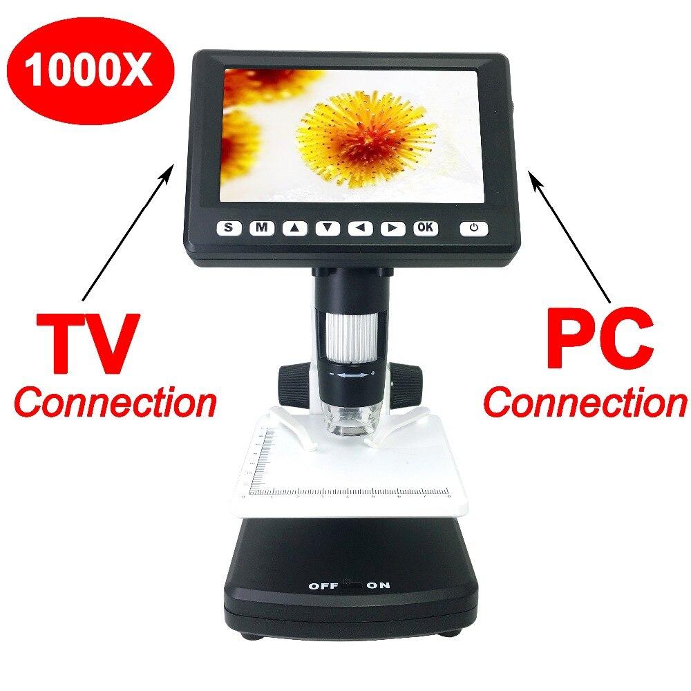 Портативный 4,3 дюймов ЖК-портативный цифровой микроскоп 1000X (модель: T438)