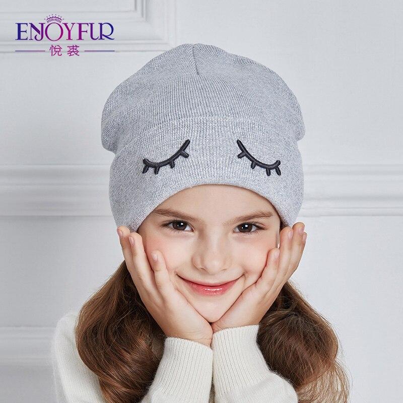 ENJOYFUR Children Spring Hats Cute Eye Knitted Boys Hat Girl Cotton Ears Caps Children Thick Warm   Skullies     Beanies   Boy Cap
