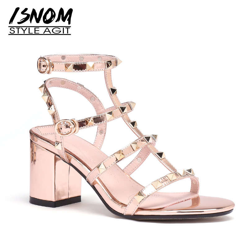 ISNOM Gladiator Sandals Women Open Toe Footwear Thick High Heels Sandals Stud Shoes Rivets Shoes Woman Summer 2019 Plus Size 45ISNOM Gladiator Sandals Women Open Toe Footwear Thick High Heels Sandals Stud Shoes Rivets Shoes Woman Summer 2019 Plus Size 45