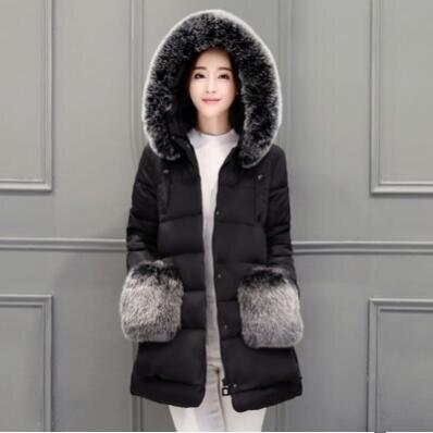 Winter Jacket Women Slim Warm Winter Coat Long Elegant Outwear Red/Gray/Black/Blue/Pink Color Parkas S M L XL 2XL 3 color red pink blue cherry cardigan coat