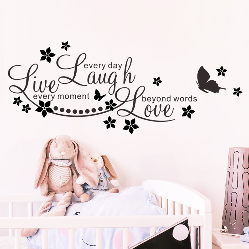 Live Laugh Love Quotes Butterfly Wall Stickers Art Living Room Decal Home Decor Children S Bedroom Words Phrases Decals Stickers Vinyl Art Home Garden Paladiosimara Com Br