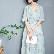 SCUWLINEN весеннее летнее платье женское с v-образным вырезом элегантное тонкое с рукавом средней длины макси длинное платье из рами свободное пляжное платье Vestidos S794