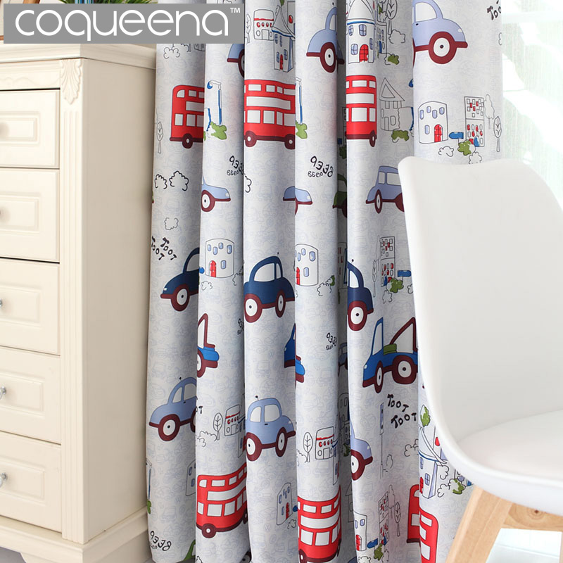 Cartoon car blackout curtains for kids bedroom boys girls - Childrens bedroom blackout curtains ...