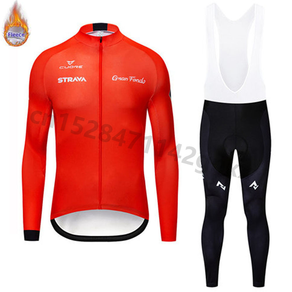 STRAVA Cycling Jersey Mens 2019 pro team Winter Thermal Fleece Long Sleeve Set MTB bicycle Clothing Maillot Ropa Ciclismo Hombre