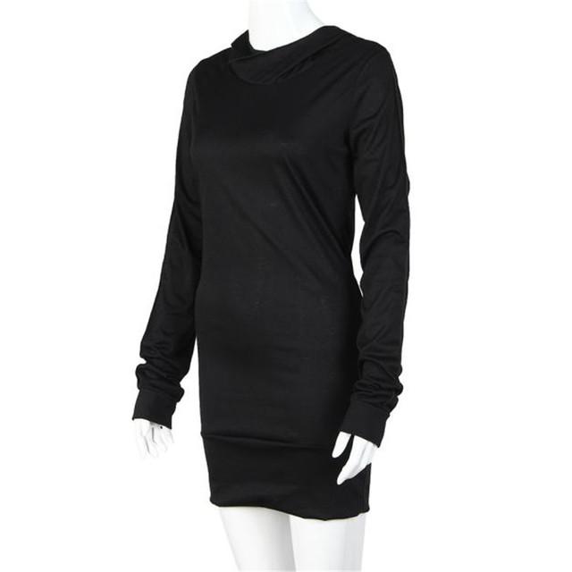 Women's Black Cotton Long Sweatshirt