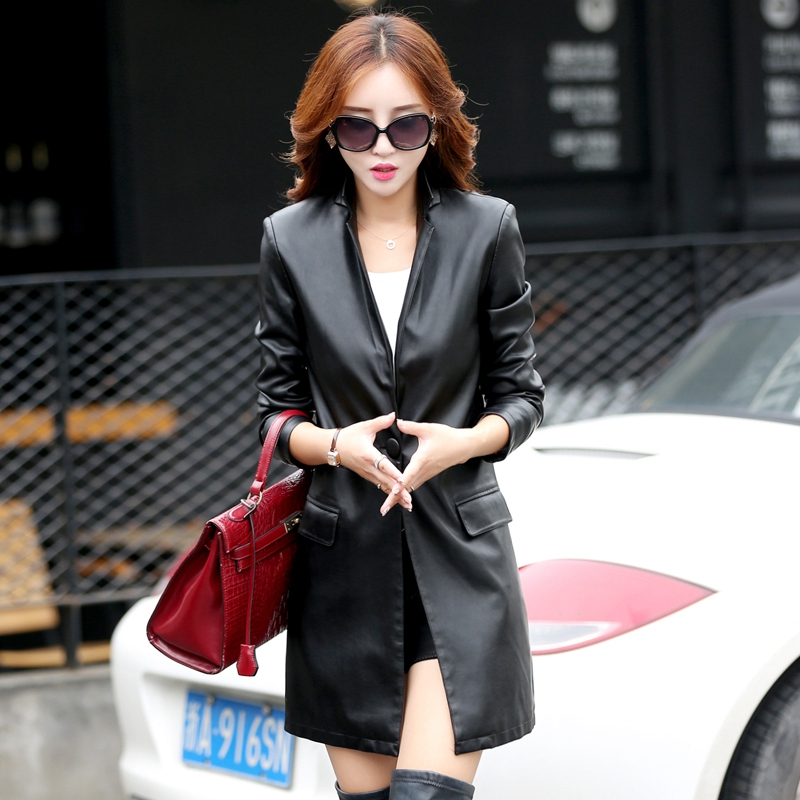 women's fashion jackets autumn and winter Long section of Korean Slim   leather   coat ladies'   leather   jackets k6607 plus size M-5XL