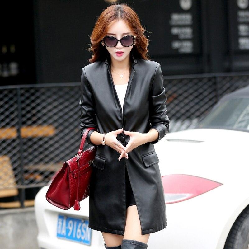 dámské módní bundy podzim a zima Dlouhá část korejského štíhlého koženého kabátu dámské kožené bundy k6607 plus velikost M-5XL