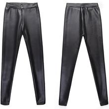 Pants Women leggings Plus Size XXXL PU stripe Plus Velvet Warm women's trousers