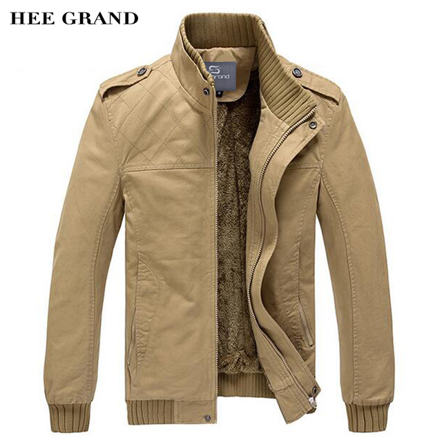 Hee Grand/Для Мужчин's куртка осень-зима тонкий Стиль Повседневная куртка 2 цвета M-XXXL внутри теплая верхняя одежда Высокое качество MWJ193