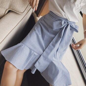 Mishow A-line Trumpet Striped ruffles Bow women skirt 2019 summer elegent cotton skirt empire knee-length  MX17B1820 1