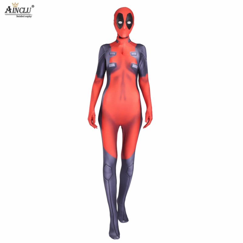 Ainclu Lady Deadpool Costume Red And Black Spandex Halloween Female Superhero Costume Hot Sale Show Zentai Suit Free Shipping