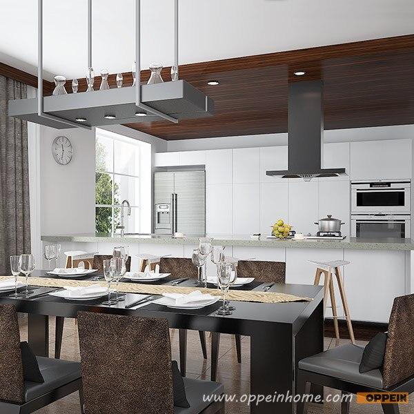 Modern Wood Grain Kitchen: Modern White And Wood Grain Villa Home Furniture OP16