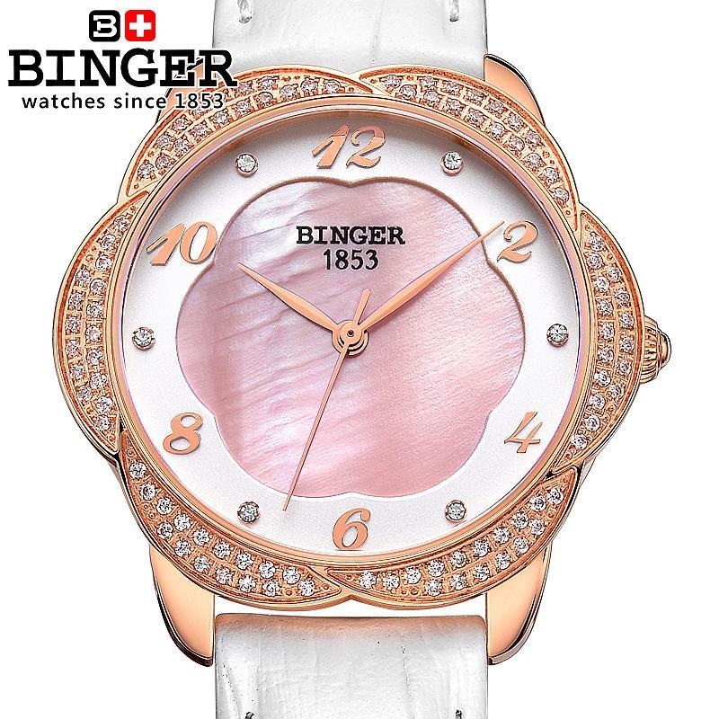 Suisse Binger montres pour femmes mode horloge de luxe bracelet en cuir quartz fleur diamant montres-bracelets B3028-2Suisse Binger montres pour femmes mode horloge de luxe bracelet en cuir quartz fleur diamant montres-bracelets B3028-2