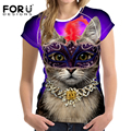 FORUDESIGNS 2017 New Women T-Shirt Fashion Cat Prints Clothes Tops for Female Tee Shirt Femme Casual Summer Best Friends T Shirt