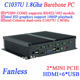 Barebone IPC Fanless Mini Pc Celeron C1037u 1.8 GHz 6 COM VGA HDMI Mini PCIe Windows Or Linux