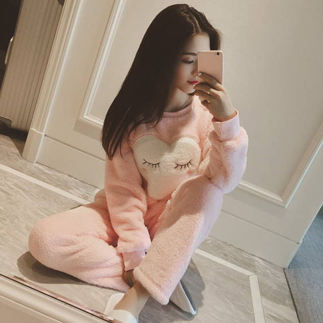 2017 Women Ladies Home Nightclothes Sets Long Sleeve O-neck Cartoon Warm Fleece Soft Pajama Sleep Suits Two Piece Set Q4588