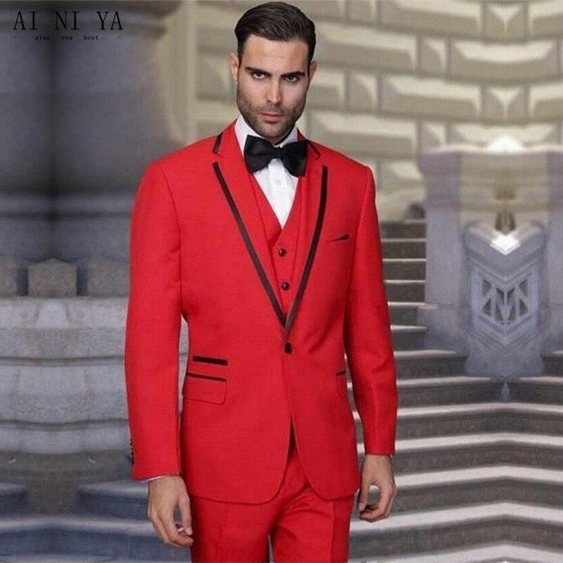 super calidad lista nueva oficial de ventas calientes € 91.8 9% de DESCUENTO|Traje rojo para hombre boda el novio hombre de  negocios para vestidos de graduación de noche traje de hombre  personalizado-in ...