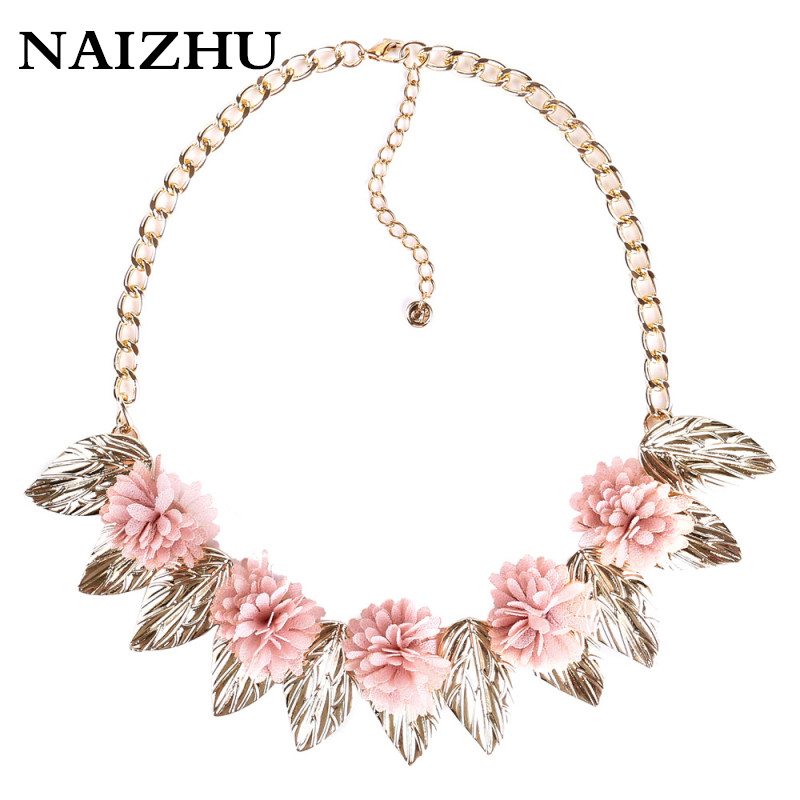 Vintage Choker Necklace Gold color Leaf penadnat Pink flower Collar Neclace for women Jewelry ...