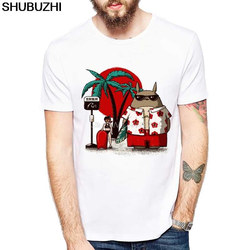 Новое поступление, Мужская футболка с героями мультфильмов, Летняя Пляжная футболка с принтом Тоторо высокого качества, модные удобные топы, европейский размер
