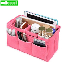 цена Cellecool organizer insert cosmetic organizer bag Multifunctional Makeup organizer bag for women Cosmetic Bag Felt Cloth bag в интернет-магазинах