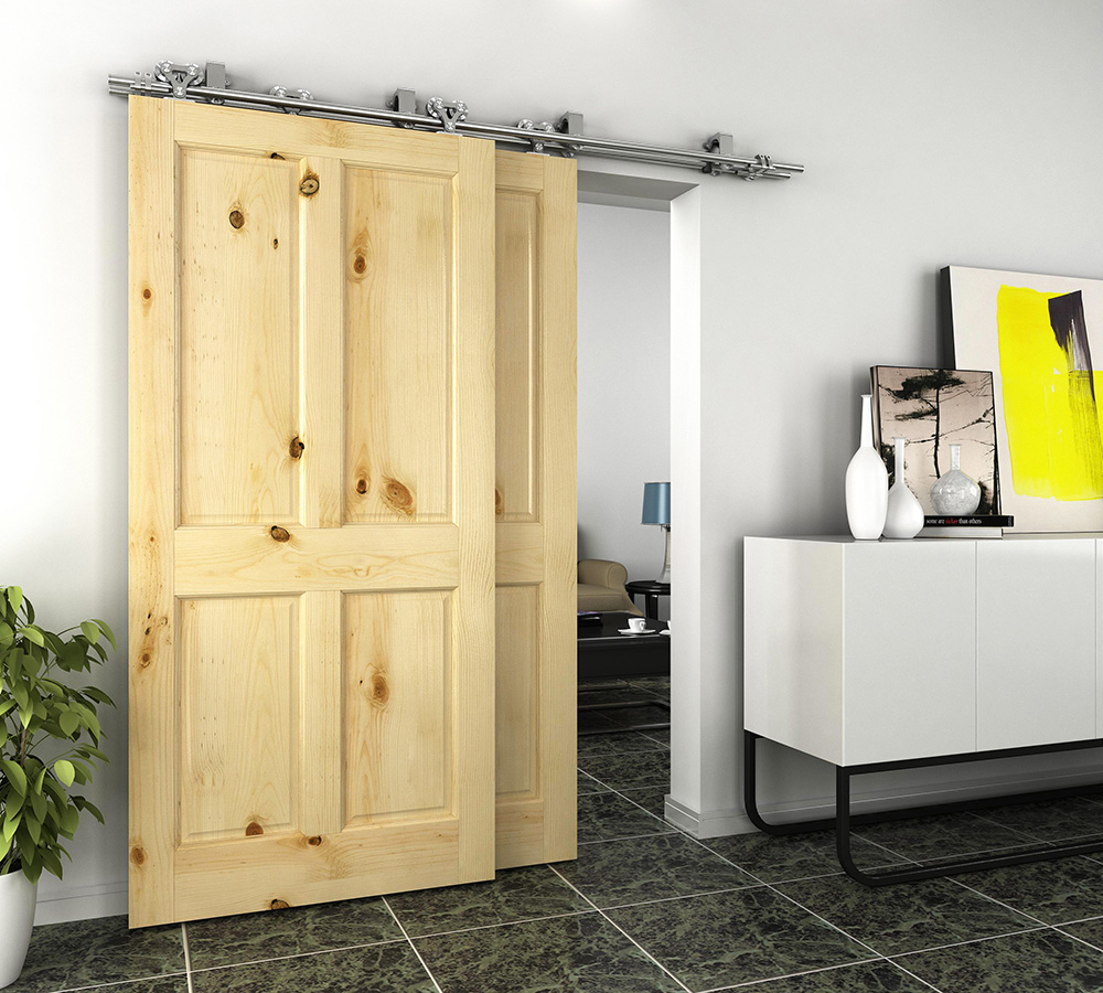 DIYHD 5FT/6FT/8FT Bypass Scorrevole Barn Porta In Legno Kit Pista In Acciaio Inox N Forma Bypass Top Mount kit portaDIYHD 5FT/6FT/8FT Bypass Scorrevole Barn Porta In Legno Kit Pista In Acciaio Inox N Forma Bypass Top Mount kit porta