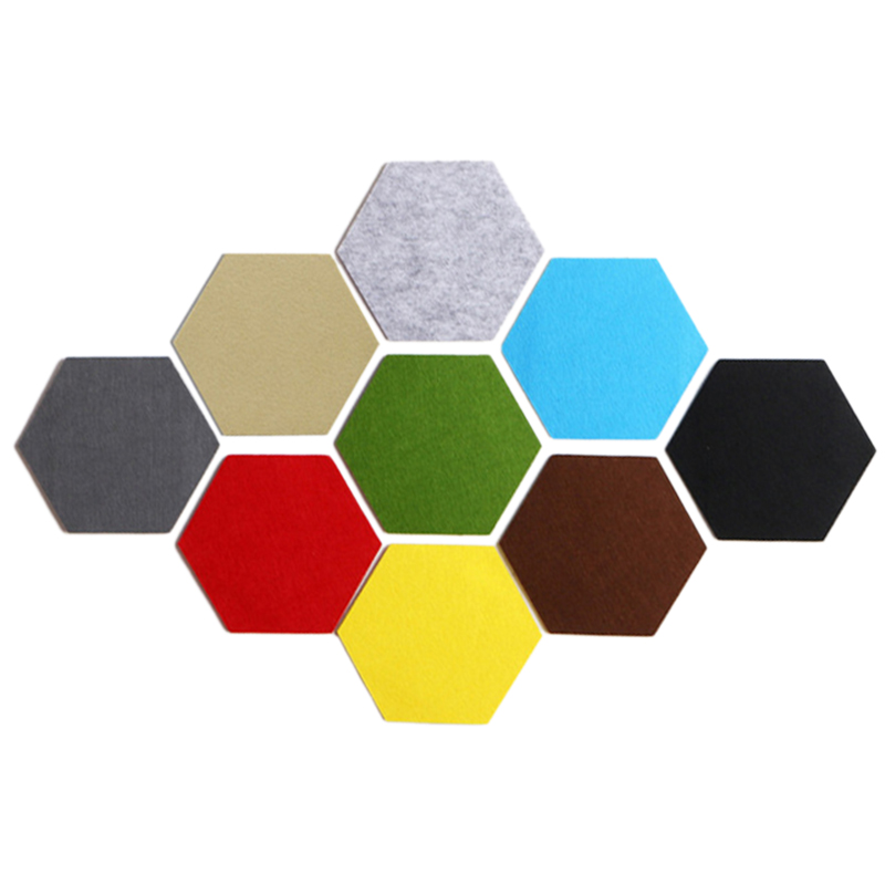 9Pcs/Set Hexagon Felt Board Hexagonal Color Felt Wall Sticker Multifunction 3d Decorative Home Message Board Self Adhesive Kid Decorative Boards     - title=