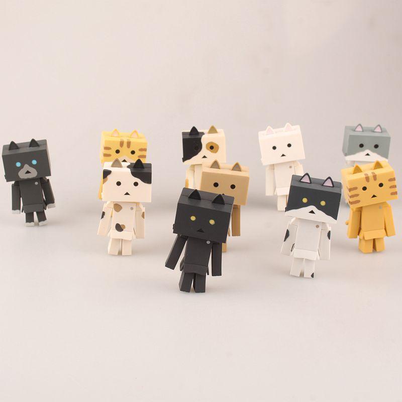 Nueva caliente 7.5 cm 10 unids/set gato danboard danbo coleccionistas figura de acción juguetes Navidad con caja