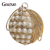 Chains Rhinestones Clutch Round white Pearl Metal Luxury Designer Party Women Evening bag Weeding shoulder Handbags and Purses
