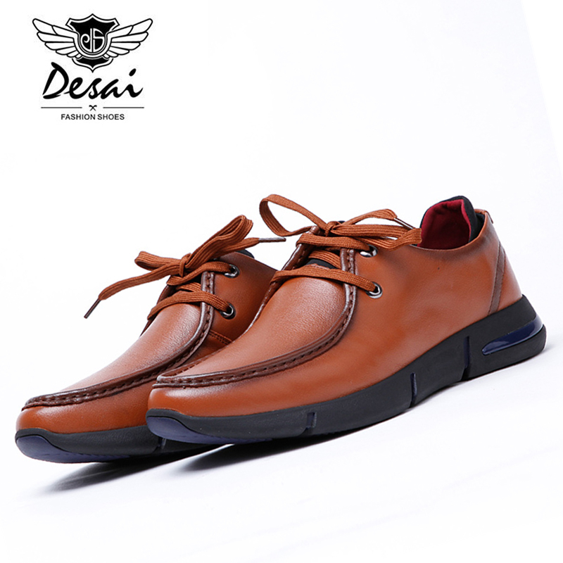 DESAI Fashion Men Casual Leather Shoes Lace Up Black/Brown Man's Pigskin Genuine Leather Comfortable Breathable DS0078 2017 fashion red black white men new fashion casual flat sneaker shoes leather breathable men lightweight comfortable ee 20