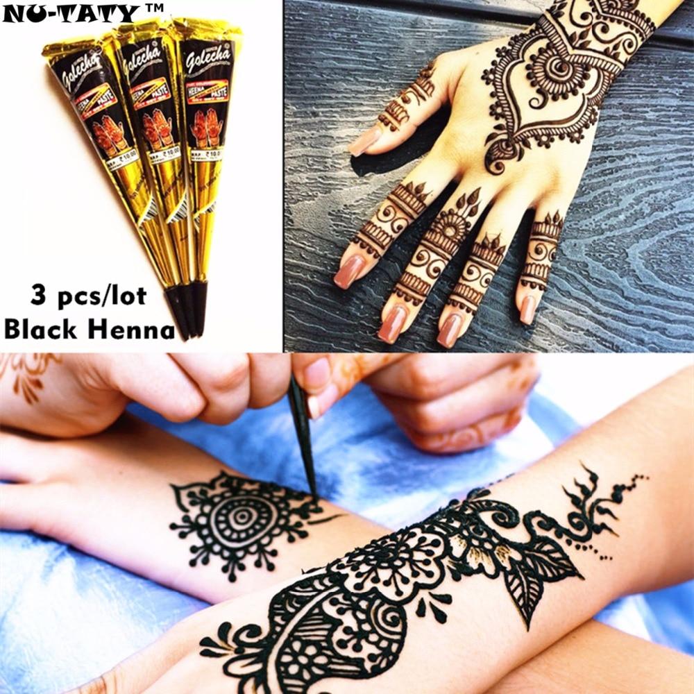 Nu-TATY Mehndi Svart Henna Tattoo Pasta Cone 3pcs / lot + Stencil - Tatovering og kroppskunst - Bilde 1