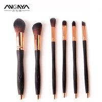 ANGNYA 새로운 6 개 UV 젤 네일 브러쉬 네일 라이너 브러쉬 특별한 디자인 금속 핸들 네일 도구 네일 아트 브러쉬 블랙 핸들
