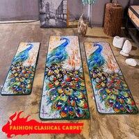 Modern Classic Oil Painting Peacock Pattern Rectangular Rug Washable Non Slip Carpet Kitchen Living Room Hallway Area Rug